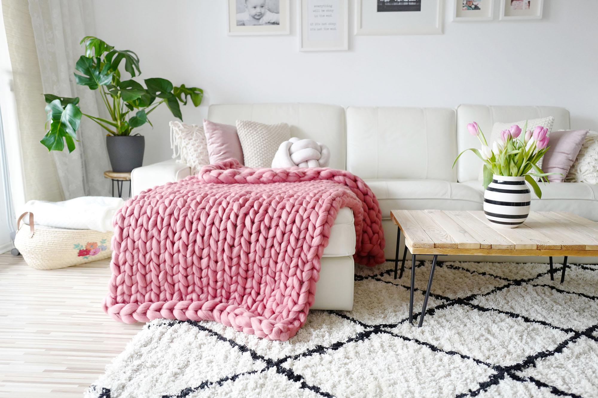 diy chunky knit decke video tutorial mamigurumi. Black Bedroom Furniture Sets. Home Design Ideas